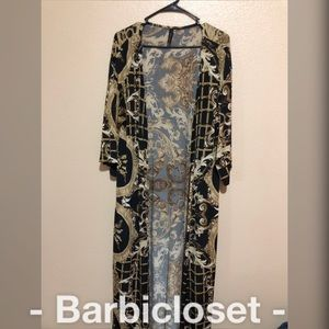 Sweaters - Black and gold italian designer style cardigan